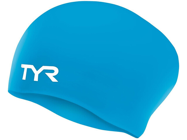 TYR Wrinkle-Free Silicone Long Hair Swimming Cap Kinder blue